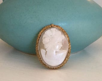 Vintage Catamore 12k Gold Filled Cameo Brooch