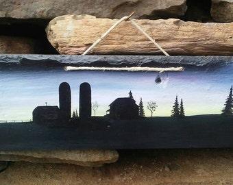 Peaceful farm painting on slate