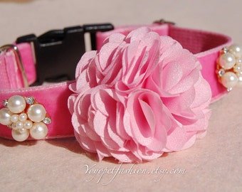Modern dog collar,wedding dog collar.party dog collar.bright pink flower with pearl flowers dog collar.pet gift, Pet Birthday gift