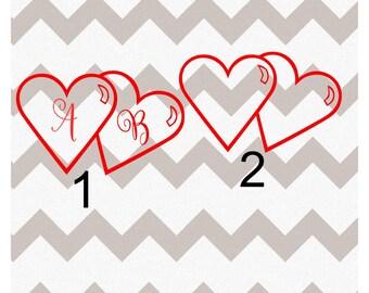 Heart Decal, Double Heart Decal, Heart YETI Decal, Personalized Heart Decal, Custom Heart Decal, Vinyl Heart Decal