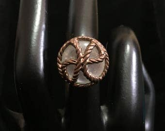 Vintage Handmade Wire Wrapped Copper Rope on Faux Mother of Pearl Button Ring (ABX1B)
