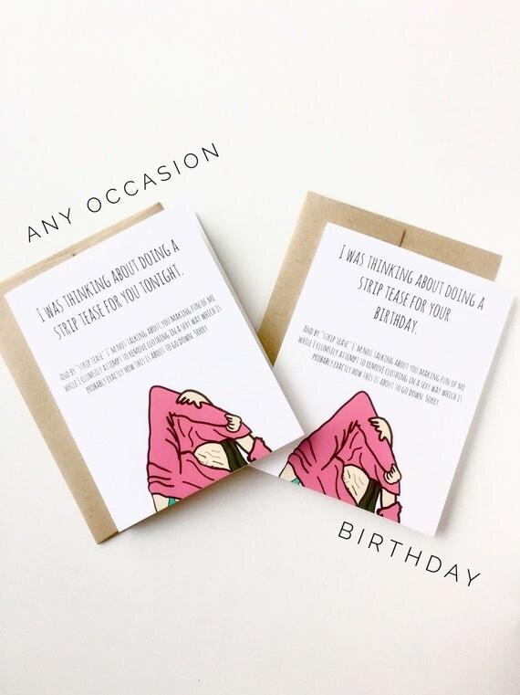 strip tease birthday funny birthday card for by debbiedrawsfunny, Birthday card