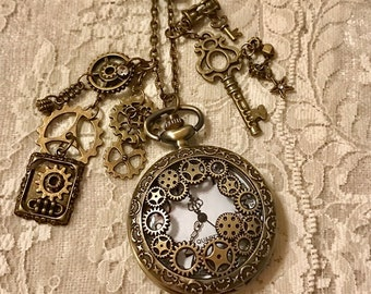 Antique Bronze, Charm, Pocket Watch Necklace, Steampunk Style.