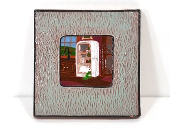 Ceramic Tile with Vintage Refrigerator and Rabbit Eating Lettuce Greens, Ellie Hudovernik ©1985, Handpainted 5x5-inch Rustic Folk Art Tile