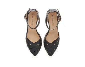 Black Heeled Sandals, Rose, Black leather sandals
