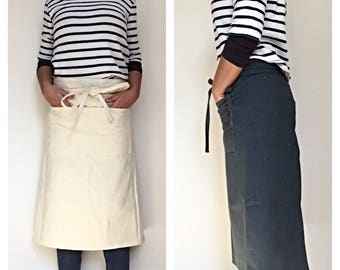 CAFE APRON, heavy duty canvas apron with pocket, mens apron, cotton apron, man apron, grilling apron, rustic apron, bbq apron, work apron