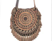 bohemian mandala bag, crossbody bag, hippy bag, tassel and fringe shoulder bag