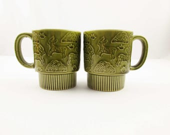 Two Olive Green Mugs - Stylized Deer Graphics - Stacking  - Japan - Stack Cups - Ceramic Cups - Coffee Cups - 1970s Coffee Cups