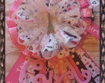 Paris Mommy To Be Corsage Pink & Black Paris Theme Baby Shower Corsage Badge