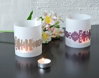 MILAN Skyline print, tablelight set of 2 lanterns, romantic candlelight fume plum, city shade MILAN, unique wedding gift, made by 44spaces