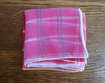 Vintage Vera Neumann Sheer Pink Red and Yellow Scarf