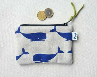 Whale Coin Purse, Small Zipper Pouch, Womens Vegan Card Wallet, Gift for Her, Blue Earbud Zip Case, Animal Accessory Organizer
