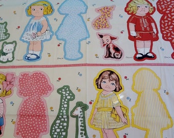 "Aunt Lindy's Fabric Doll Panel Paper Doll Fabric Makes Four Large 16"" Dolls plus Animals"