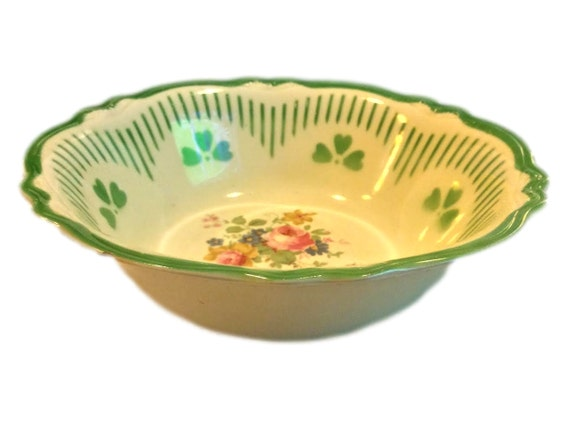 Homer Laughlin Virginia Rose, Green Clover Vintage Serving Bowl Mid Century, Made in the USA