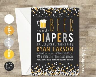 Beer and Diaper Shower, Men's Baby Shower Invitation, Diaper and Beer Baby Shower, Dad Baby Shower, Diaper Shower, Diapers for Dad
