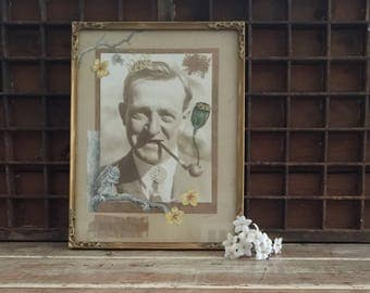 Framed mixed media assemblages vintage sepia photo paper cut out wooden frame de stressed gold quirky art happy man