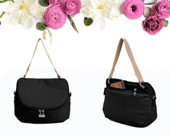 Black Canvas Messenger Bag, Water repellent