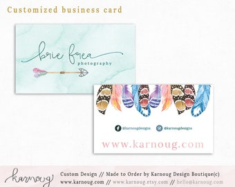 Feather Business Card|Instant Business Cards|Boho Business Cards|Custom Business Cards|Printable Business Cards|Watercolor|Printable Cards