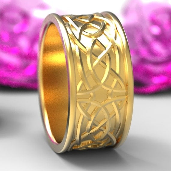 Celtic Wedding Ring With Raised Woven Knotwork Design in 10K 14K 18K Gold, Palladium or Platinum Made in Your Size 112