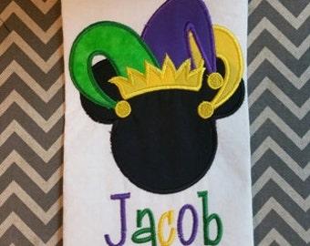 Mickey Mouse Mardi Gras Jester Embroidered Applique Deisgn