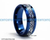 8MM TUNGSTEN Carbide Wedding Band, Deep Ocean Blue With Blue Carbon Fiber Inlay And Silver Dragon Scroll Design Custom Engraved