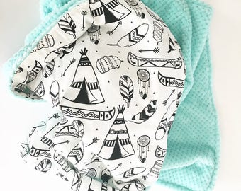 Baby BlanketGender Neutral Tribal Baby Blankets MODERN Teepee Tipi Arrow Crib Blanket Toddler Bed Blanket, Teal Cuddle by BizyBelle