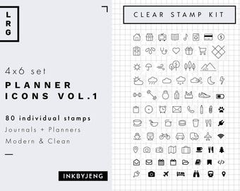Planner Icons Vol. 1   4x6   Planner and Journal Clear Stamp Kit