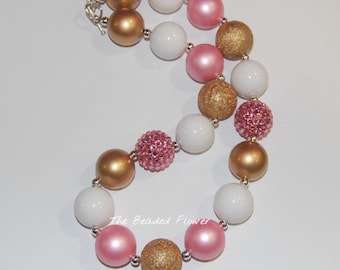 pink gold white chunky bubblegum necklace girls birthday pageant necklace