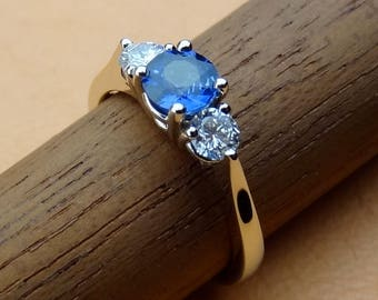 Very Petite 3 Stone Blue Sapphire & Diamonds Engagement / Promise / Friendship Ring 18k White Gold