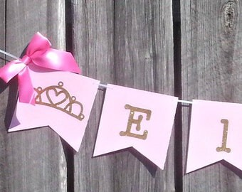 Pink and Gold Princess Name Banner, Crown Banner, Baby Girl  Party Decorations, Baby Shower Decor