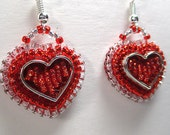 COOKIE CUTTER HEARTS beaded earrings, raised beadwork, bead embroidery, beaded holiday earrings, heart earrings, Valentine's Day