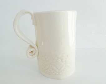 Handmade lace textured ceramic tea coffee mug, unique romantic shabby chic floral white earthenware pottery cup