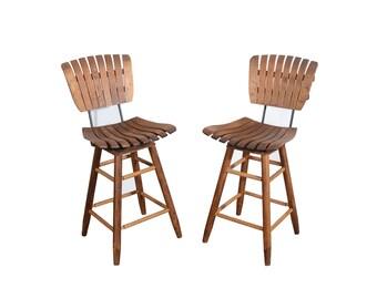 Slat Seat Bar Stools  Arthur Umanoff Style