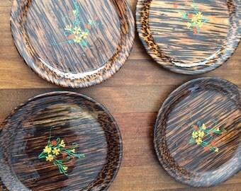 Set of 9 Vintage Coasters, hand painted coasters, floral coasters, round beverage coasters