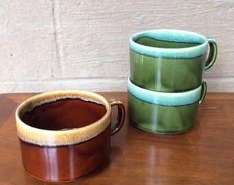 """Vintage Ceramic Soup Mugs, Green, Brown, 3"""""""