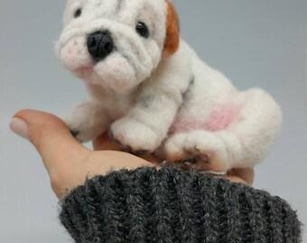 Pet Portrait, Needle felted french bulldog. READY TO SHIP!