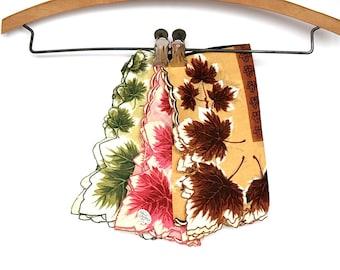 Vintage Handkerchief Set - Vintage Handkerchief Lot - Leaf Handkerchiefs - Vintage Hankies - Ladies Hankies - Scalloped Edge Handkerchiefs