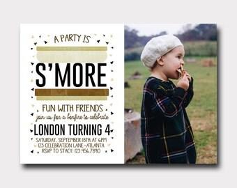 S'more Birthday Invitation | Campfire Birthday Invitation | Bonfire Birthday Invitation | Camping Invitation | S'more Fun | Fall Birthday