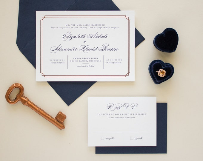 Navy and Copper Foil Stamped Wedding Invitations, Typographic Wedding Invites with Copper Foil Border, SAMPLES | Refined