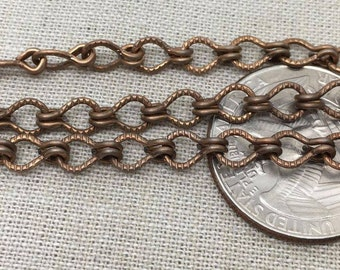 1 Foot Vintage Unsoldered Plated Steel Ladder Chain