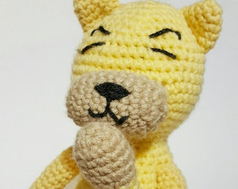 Stuffed animal cat, Large stuffed animal, Crochet cat doll, Amigurumi cat doll, Hand knit item, Yellow stuffed animal cat, Crochet cat