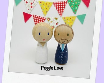 Wedding cake topper, bride and groom cake topper, peg doll bride & groom, wedding, Wedding cake topper, Kokeshi wedding cake topper