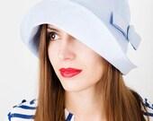 SALE Women Summer hat/ hat for sun blue cotton cloche hat with long flixible brim / bucket hat