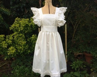 "Adults Cream ""Alice"" Victorian style pinafore apron broiderie anglais trim"