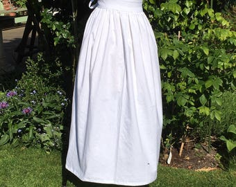 Plain long white cotton apron, adults multi-sized, suitable for Puritan, Victorian Costume ... and many other occasions.