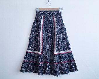 1970s Gunne Sax by Jessica McClintock Prairie Cotton Skirt
