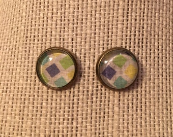12mm Colorful-Squares Glass Stud Earrings