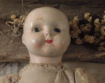 Creepy / Tragic Vintage / Antique Composite Doll / Tattered Doll / Linen Fabric Body / Antique Composition Doll