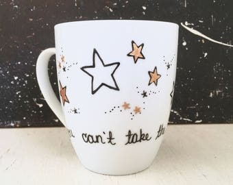 """Firefly """"you can't take the sky from me"""" Handpainted Porcelain Mug"""