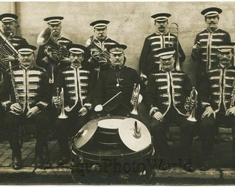 Military music band w drum woodwind antique photo